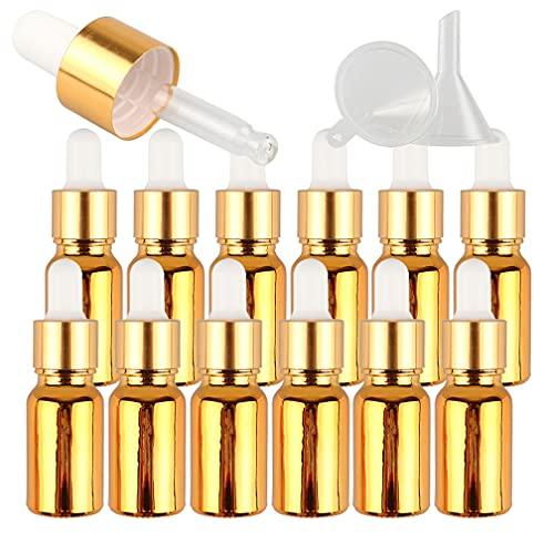 TIANZD 12 Pieza 10mlOro Botellas de Cristal con Pipeta,10 ml Frasco Cuentagotas Cristalcon Tapón de Rosca Oro, Botella de Vidrio con Cuentagotas para Aceite Esencial Aromaterapia