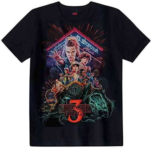 Camiseta Stranger Things Unissex Malwee Kids, Preto, Meninos, 12