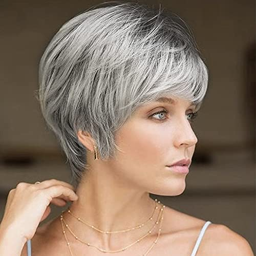 Sallcks Women's Short Layered Gray Wig with Dark Roots Synthetic Cosplay Party Replacement Hair Wig with Wig Cap