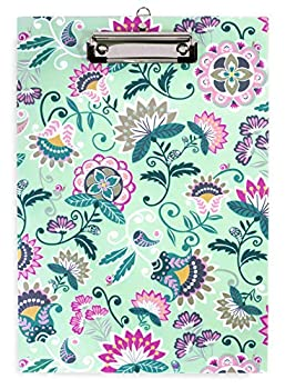 Vera Bradley Green Floral Plastic Clipboard for Letter Size Paper Mint Flowers