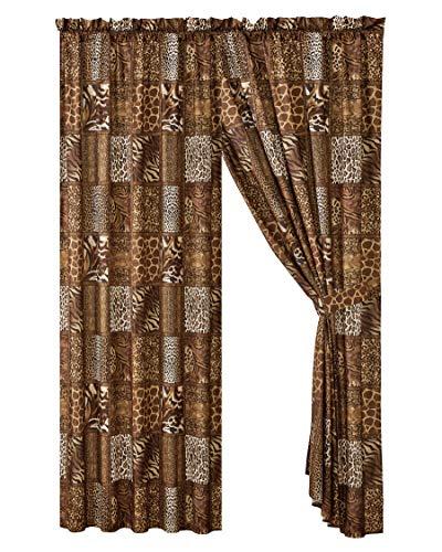 4 Piece Jungle Safari Animal Print Window Drapes Curtain Set, Chocolate Brown Leopard Zebra Giraffe Jungle Forest Theme Rod Pocket Panels with Tie Backs- Safari Design (Brown)