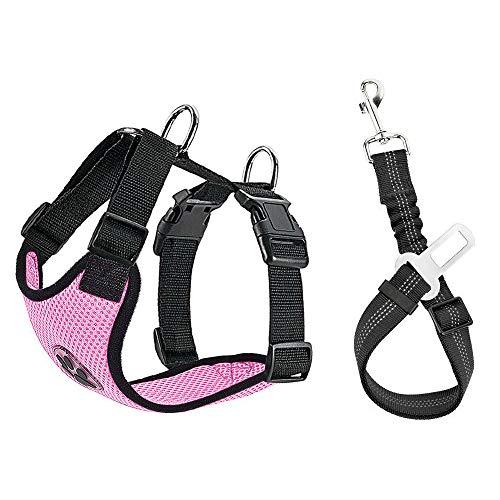 SlowTon Hundbilsele säkerhetsbälte, husdjurväst sele med säkerhetsbälte för resor och daglig användning justerbar elastisk rem