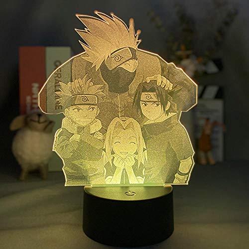 3D ilusión nocturna 3D lámpara de ilusión óptica 3D Naruto lámpara de escritorio táctil para dormitorio de niños, cargador USB bonitos regalos para cumpleaños, día de San Valentín