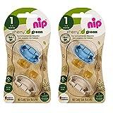 nip® Öko-Schnuller Schnuller CHERRY® Green Gr.1 ab Geburt, 4-pack boys, made in Germany