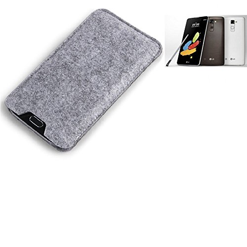K-S-Trade Filz Schutz Hülle für LG Stylus 2 DAB+ Schutzhülle Filztasche Filz Tasche Case Sleeve Handyhülle Filzhülle grau