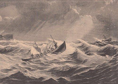 Seenot/Seerettung - Ein Rettungsboot im Einsatz. Ansicht bei stürmischer See. [Grafik]