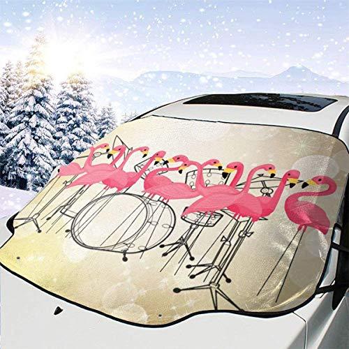 XXX - Funda para parabrisas de coche, diseño de flamencos de pájaros, para protección de invierno, ajuste universal para coches, camiones, furgonetas y todoterrenos, grueso y grande