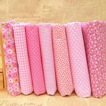 7PCS Printed Assorted Pre-Cut Fat Quarters Bundle Charm Cotton Quilt Fabric DIY
