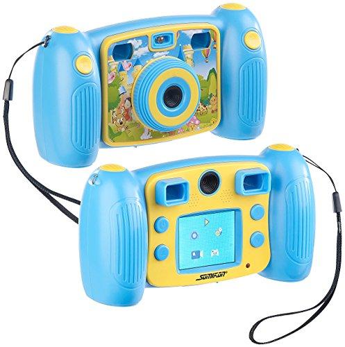 Somikon Kinderkamera: Kinder-Full-HD-Digitalkamera, 2. Objektiv für Selfies & 2 Sucher, blau (Kinder Fotokamera)