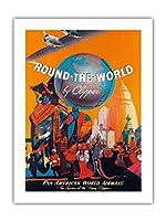 クリッパーによる世界一周の装飾ポスターサイン-パンアメリカンワールドエアウェイズ、パークサインパークガイド警告サイン私有財産のための金属屋外危険サイン