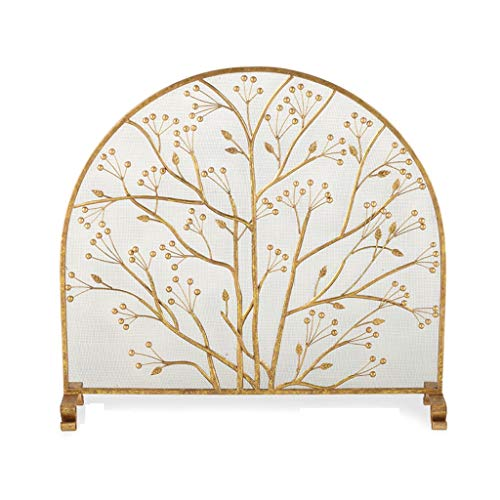 liushop Indoor Fireplace Screen Fireplace Screen Ornate Wrought Iron Black Metal Fire Place Standing Gate Decorative Mesh Solid Baby Safe Proof Fence Guard Fireplace Panels