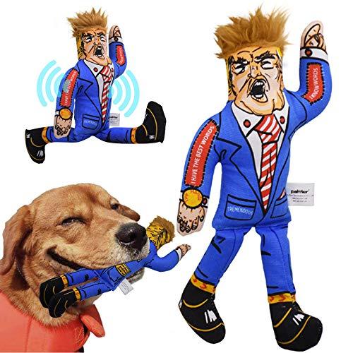 FONGKE Quietschendes Hundespielzeug Präsident Donald Trump Kauspielzeug für kleine, mittelgroße und große Hunde, langlebiges Hundespielzeug Geschenk