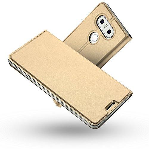 RADOO LG G6 Lederhülle, Premium PU Leder Handyhülle Brieftasche-Stil Magnetisch Folio Flip Klapphülle Etui Brieftasche Hülle [Karte Halterung] Schutzhülle Tasche Hülle Cover für LG G6 (Gold)