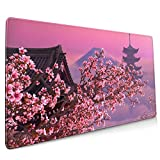Japanese Sakura Flower Extended Mouse Pad 35.4x15.7 Inch XXL Pink Cherry Blossom Non-Slip Rubber Base Large Mousepad with Stitched Edges Waterproof Keyboard Mouse Mat Desk Pad for Office Home Game