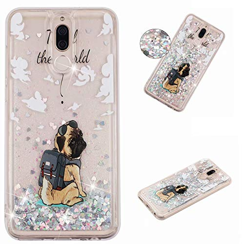 KSHOP Glitter Hoesje voor iPhone SE/5/5S, Happy dog, Huawei Mate 10 Lite