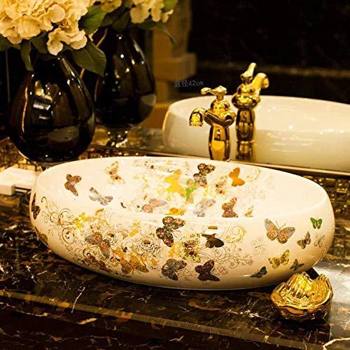 ZLXLX wastafel wastafel artistieke wastafel & amp; wastafel aanrecht ovaal keramische wastafel badkamer wastafel vlinder patroon