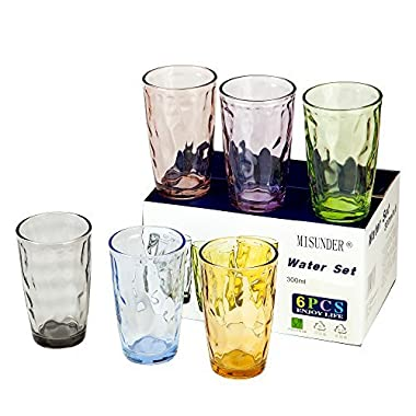 Water Glass Cup Set - MISUNDER 2017 Colorful Drinkware for Wine Beer Water, Set of 6, Unbreakable, NC8698, 10.12oz/300ml
