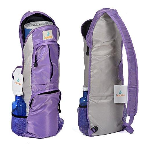 IMARANA Yoga Mat Bag | Yoga Carrier Backpack with Versatile Storage Mesh and Zipper Pockets (Purple)