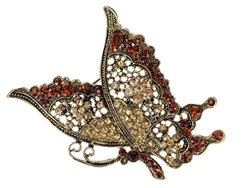Alilang messing toon rode topaas kristal strass vlinder vliegen Bug Broche Pin