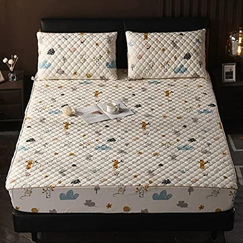 PWQHT Funda de colchón Acolchada de algodón, Antipolvo, Topper Colchón Lavable y Silencioso, con 1 par de Funda de Almohada para Colchón Altos 36cm(Color:A,Size:150x200cm)