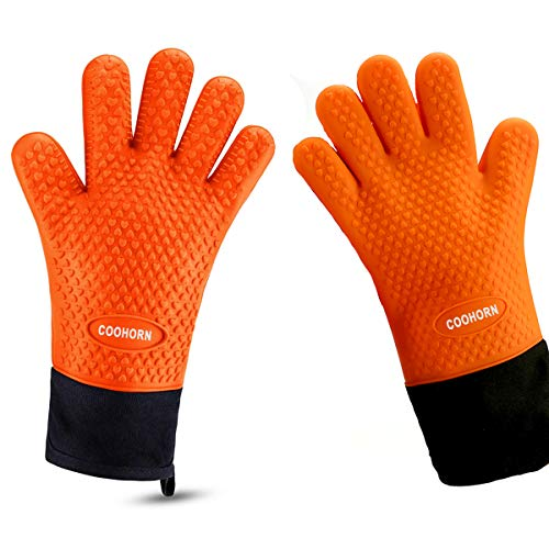 BBQ Grill Gloves for Smoker Heat Resistant Silicone Gloves Waterproof - Oil-Proof Kitchen Oven Mitts for Grilling Baking Cooking Frying Dish-washing with Non-slip Cotton Liner, 13.7'L×7.5'W 1 Pair