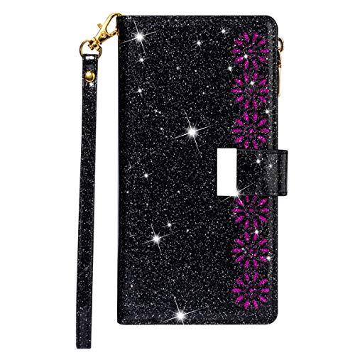 Blllue Funda tipo cartera compatible con Xiaomi Poco X3 NFC, Glitter Zipper Starry Laser PU Funda de cuero con 9 ranuras para tarjetas y cordón para Poco X3 NFC - Negro