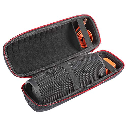 Travel Carry Storage Case Waterproof Shoulder Bag Compatible with JBL Charge 4 Portable Bluetooth Speaker Protective Shell Pouch (All Black)