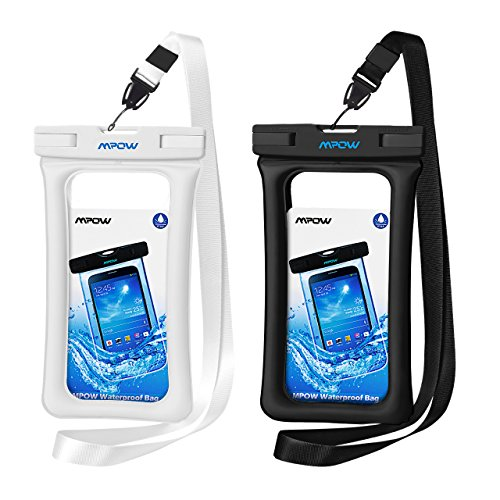 Mpow 084 Waterproof Phone Pouch Floating, IPX8 Universal Waterproof Case Underwater Dry Bag Compatible iPhone 11 Pro Max/XS Max/XR/X/8P/7P Galaxy S10/S9 Note 10/9 Google Pixel Up To 6.5' (Black+White)
