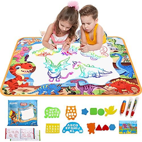 Wasser Doodle Matte Aqua Zaubermatte Malmatte mit Wasserstift 100 X 70cm mit 1 Graffiti-Buch 3 Magic Stifte 4 Zeichenformen 8 Stempelset Geschenke Spielzeug für Jungen Madchen Kinder ab 1 Jahr