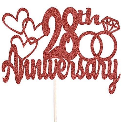 Szczęśliwej 28. rocznicy brokatowy czubek na tort - na zamówienie rekwizyty do dekoracji na przyjęcie - dostępne w wielu kolorach (jasnoczerwony)