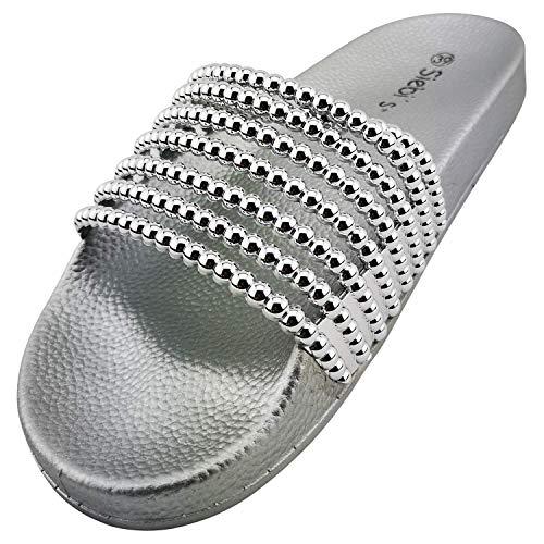 Siebi's Keros modische Badeschuhe extra leicht mit Fußbett Pantoletten für Damen: Größe: 41 | Farbe: Silber