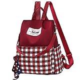 Van Caro Women's Oxford Checkerboard Backpack Purse Anti-Theft Nylon Rucksack Shoulder Bag, Red