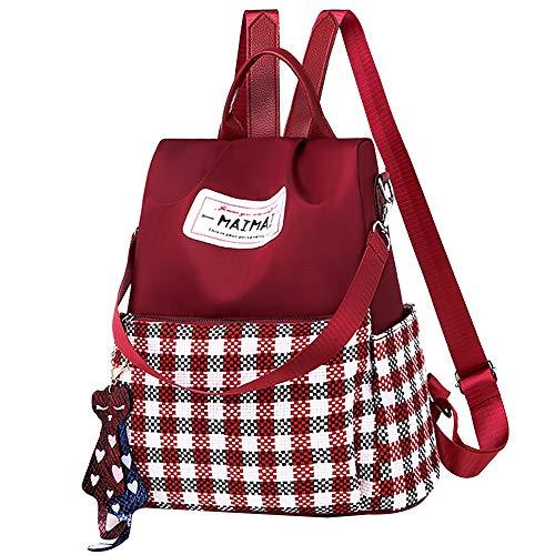 Van Caro Damen Oxford Karo Rucksack Geldbörse Anti-Diebstahl Nylon Rucksack Schultertasche, Rot (rot), Einheitsgröße