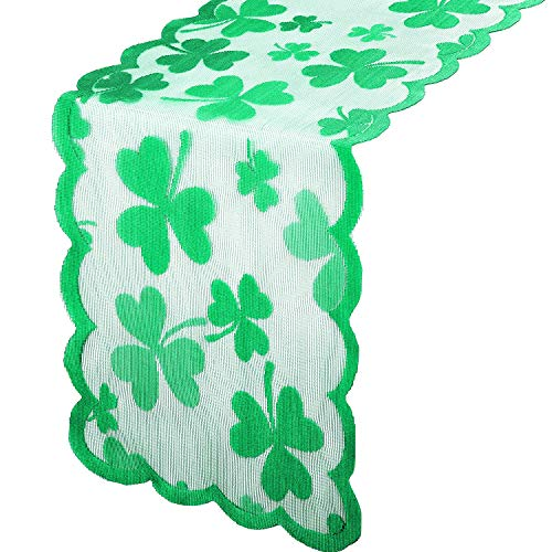 Boao St Patrick#039s Day Table Runner Tablecloth Irish Clover Embroidered Tablecloth Green Shamrock Lace Table Cover Topper Dresser Scarf for Spring Wedding Shower Party Supplies1 Piece13 x 72 Inch