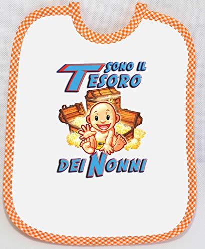 Bavaglino/bavetta spiritoso-simpatico-umoristico-divertente- pappa-Tesoro Nonni arancio - MADE IN ITALY.