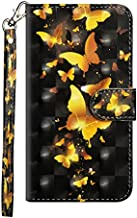 for ZTE ZMAX Pro/ZTE Carry Z981 /ZTE Grand X Max 2 / ZTE Blade X Max / Z983 Case, BabeMall 3D Elegant Painting PU Leather Stand Wallet Flip Case with Card Slots (Yellow Butterfly)