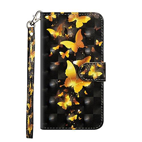 WindTeco Funda para LG Q6 / LG G6 Plus, Carcasa Libro con Correa de Mano Cubierta de Billetera Silicona Case Protectora Soporte y Ranuras para Tarjetas para LG Q6 Plus, Dorado Mariposa