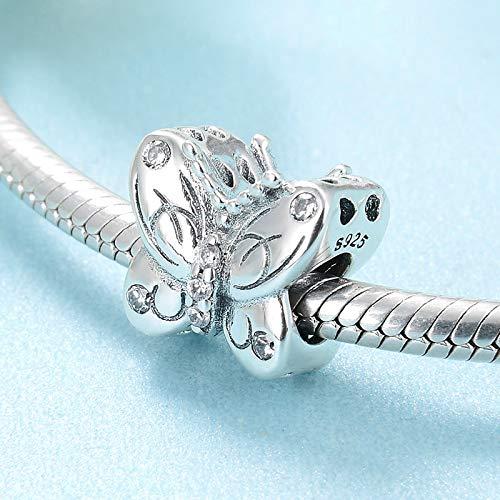 GZZGHD Aushöhlen 925 Sterling Silber Tanzen Schmetterling Klare Cz Perlen Schmuck Machen Fit Original Charm Armbänder