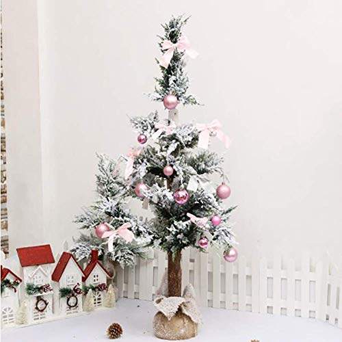 CHHD Premium Christmas Pine Tree Flocked Snow Hinged With Ornament Foldable Solid Metal Legs For Home Decoration Garden Décor -green 3Ft(90cm)