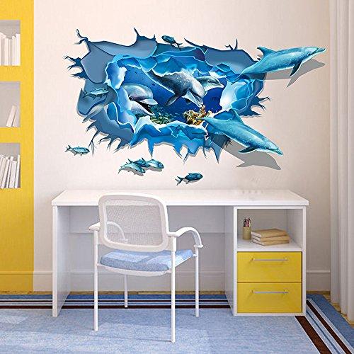 Ouneed Wandaufkleber Wandtattoo Wandsticker , Entfernbarer Delphin 3D Meer-Ozean-Aufkleber-Wand-Abziehbild-Wand-DIY Dekor-Kind-Raum Art
