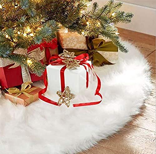 Faux Fur Christmas Tree Skirt 48 inch White Tree Skirt for Christmas Decoration Indoor Outdoor Holiday Party (48inch-White-Faux Fur)