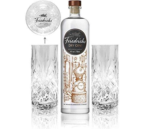 Friedrichs Dry Gin 0,7l 700ml (45% Vol) + 2x Friedrichs Longdrink Gläser -[Enthält Sulfite]