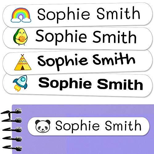 50 Etiquetas Adhesivas Personalizadas, de 6 x 1 cms, para marcar objetos, libros, fiambreras, etc. Color Blanco