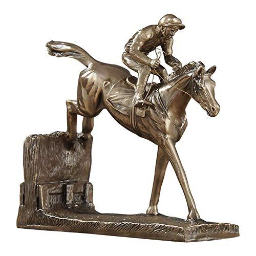 TTOOY Jinete y Caballo, Estatua de Carreras de Caballos Saltando Escultura de Bronce Jockey Steeplechaser Adorno Accesorios de Escritorio para el hogar, A