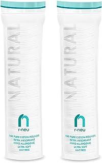 دور پنبه R-NEU ، 200 دانه پاک کننده آرایشی و تمیز کردن صورت ، پنل های پنبه ای ، ووپلی بافت هیپوالرژنیک 100٪ پنبه طبیعی ، دستمال مرطوب 2.25 اینچ (200 بسته)