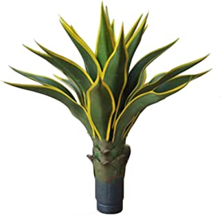 JIAJIANPING Artificial Plants Sansevieria Snake Plant with Gold Side Leaf Black Flower Pot with Plastic (Color : B)