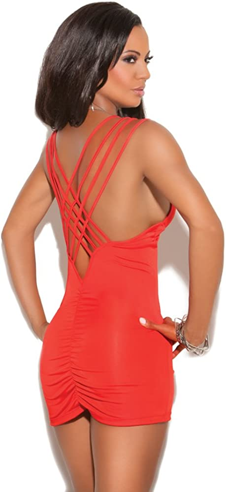Deep V Mini Dress with Criss Cross Triple Strap and Ruched Back
