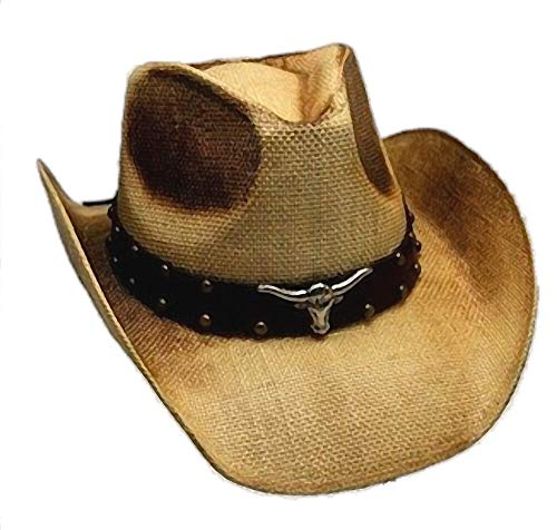 Western Ranch Strohhut Cowboyhut beige braun geflammt mit Leder - Hutband Longhorn und Nieten (54-56)