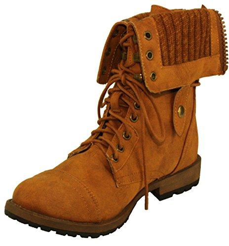 dbdk ankle boots DBDK Women's Star-8 Adjustable Foldover Cuff Combat Booties