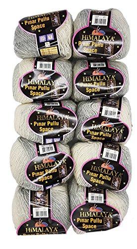 Pinar Pullu Space 10 x 50g Strickwolle zweifarbig mit Pailletten, 500 Gramm Paillettengarn, Paillettenwolle 31% Wolle-Anteil (grau cremeweiß 62001)